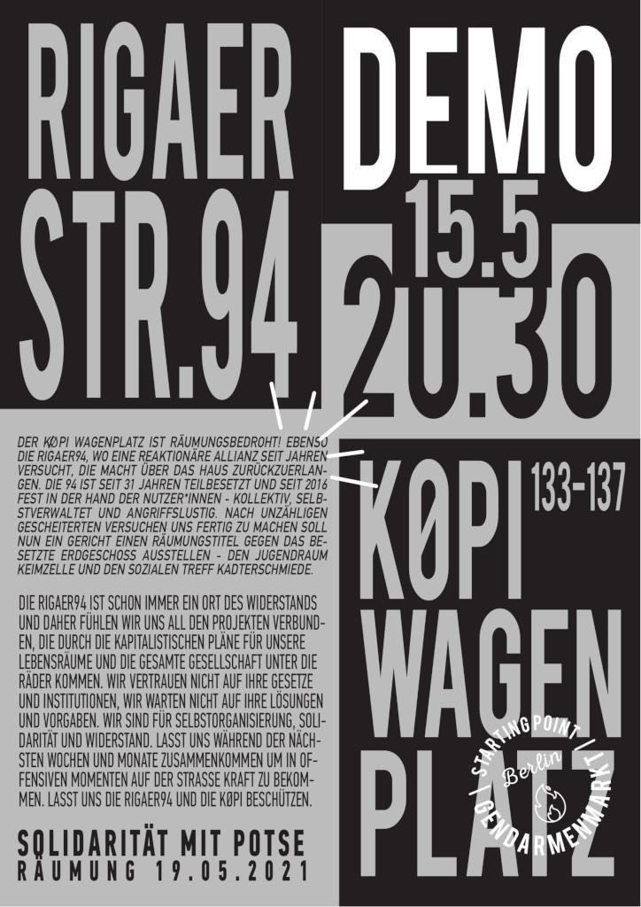 Rigaer94 Demo Mobi Poster 15.5.2021 20³° Gendarmenmarkt